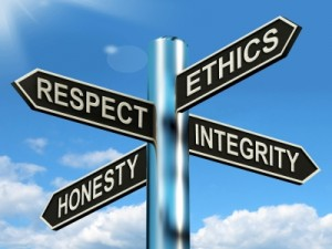 Respect Ethics Honest Integrity Signpost Means Good Qualities by Stuart Miles, www.freedigitalphotos.net